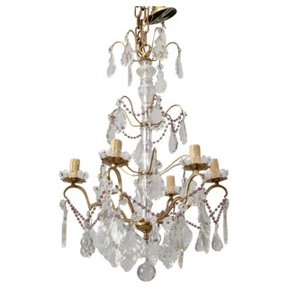 Italian Crystal Chandelier with Amethyst Beads