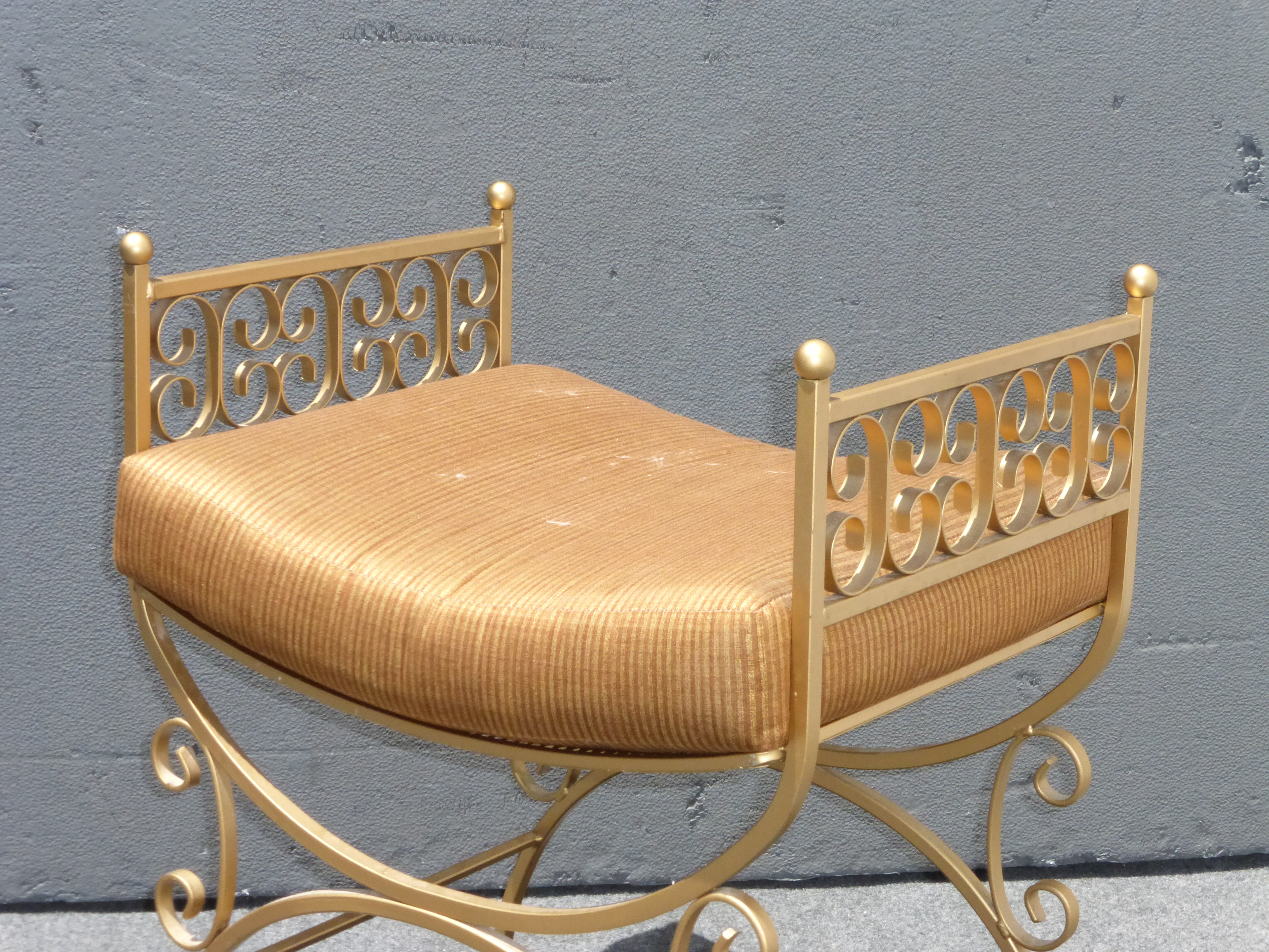 Vintage French Gold Metal Painted Vanity Bench   Image 4 Of 11