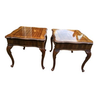 A Pair of Wooden End Tables With Drawer and Queen Anne Legs - a Pair