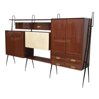 Italian Modern Mahogany and Brass Bar Cabinet or Bookcase, Silvio Cavatorta