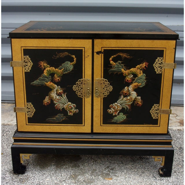 Vintage Asian Style Cabinet With Brass Hardware - Image 2 of 11