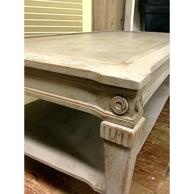 French Linen Chalk Paint Coffee Table: Vintage Chalk Painted Coffee Table