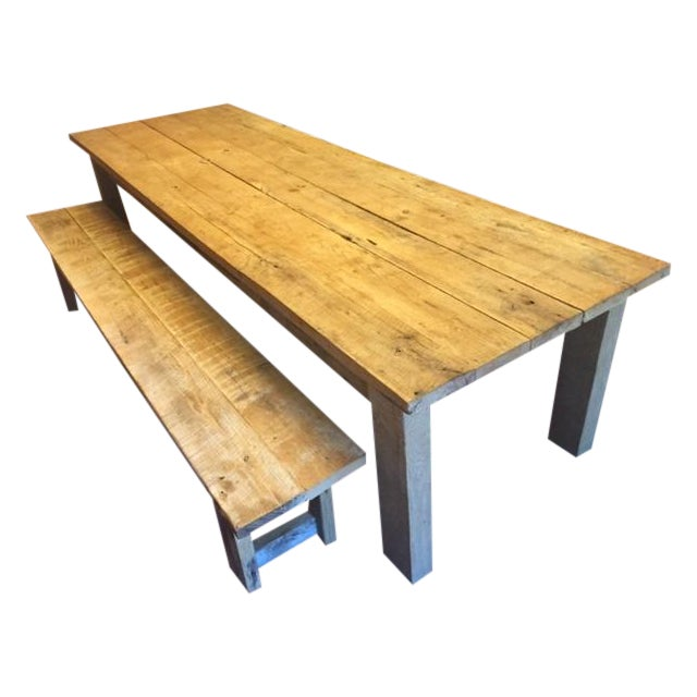 Rustic White Oak Dining Table And Bench Chairish