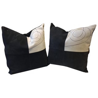 Leather Imported C. 90s South African Geometric Black & Ivory Pillows - Pair