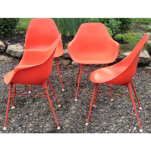 Vintage Orange Chairs - Set of 4 - Image 3 of 7