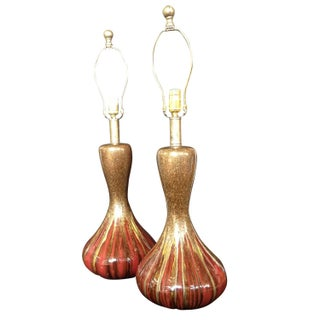 Red Glazed Lamps - A pair
