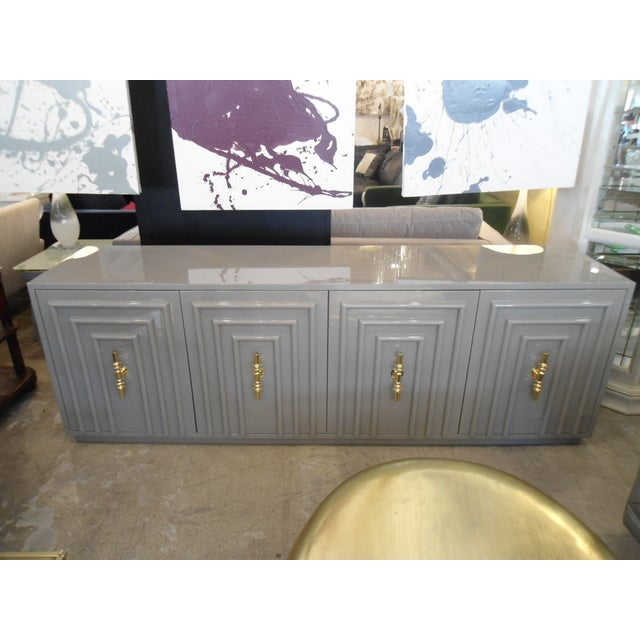 ModShop Art Deco Gray Lacquer W/ Gold Pulls Sideboard - Image 2 of 9