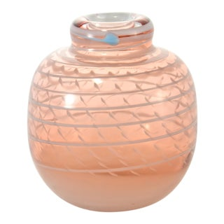 Pink Blown Art Glass Vase