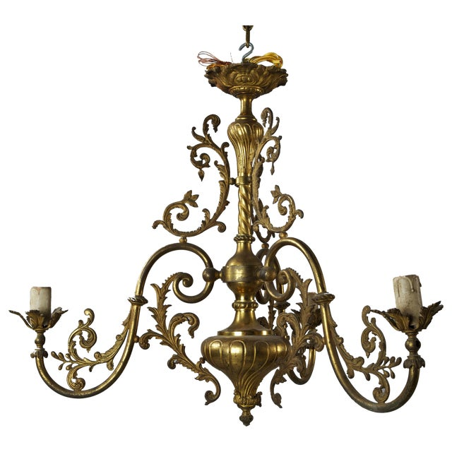 French Three Light Solid Cast Brass Chandelier - Image 1 of 8