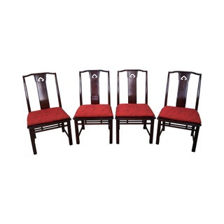 Vintage Faux Tortoise Shell Asian Style Chairs - Set of 4