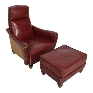 Mexican Modernist Tall Club Chair Ottoman Red Leather Brass Arturo Pani
