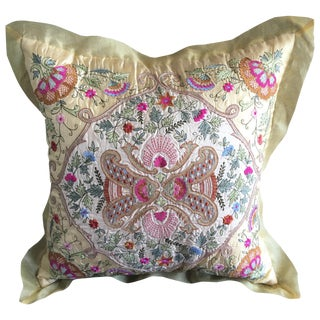 Luxury Silk Embroidered Arabesque Pillow Cover