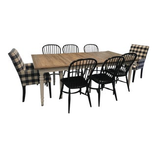 French Country Rustic Dining Set - Table and Set of 8 Ethan Allen Chairs