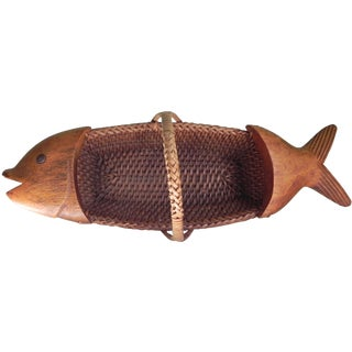 Woven and Wood Fish Basket