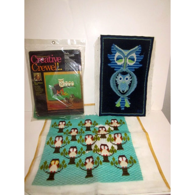 Owl Needlepoint Crewel Wall Pillows - Set of 3 - Image 2 of 5