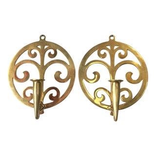 Art Nouveau Brass Candleholder Sconces - A Pair