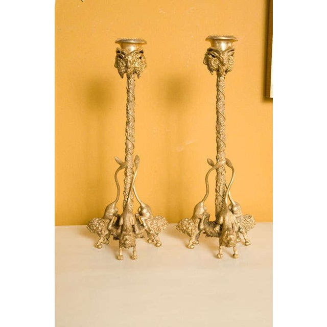 Pair Renaissance-Style Gilt Bronze Candlesticks - Image 6 of 10