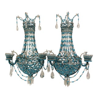 Stunning Fine Blue Beaded Sconces - A Pair