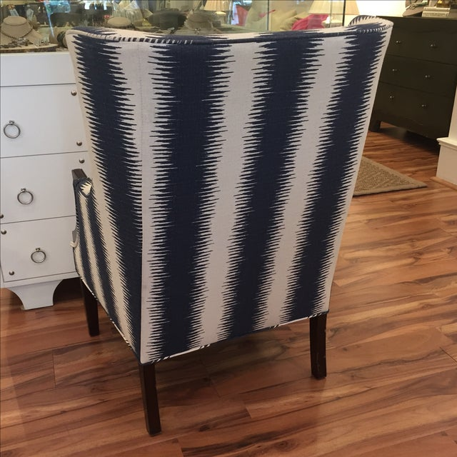 Navy & White Wing Chairs - A Pair - Image 4 of 7