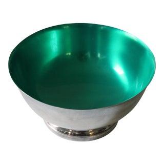 Gorham Silver-Plate & Green Enamel Bowl