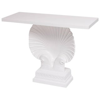 Hollywood Regency Art Deco Style White Lacquered Shell Console Table