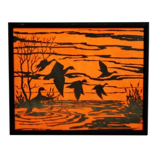 Vintage Orange Water Fowl Artwork