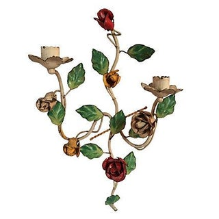 Italian Tole Candle Sconce With Roses