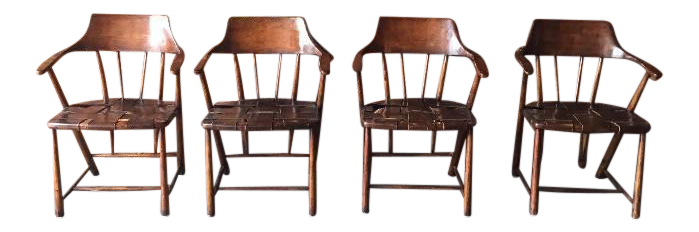 Vintage Wood U0026 Leather Captainu0027s Chairs   Set Of 4   Wharton Esherick Style    Image
