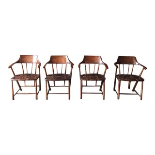 Vintage Wood & Leather Captain's Chairs - Set of 4