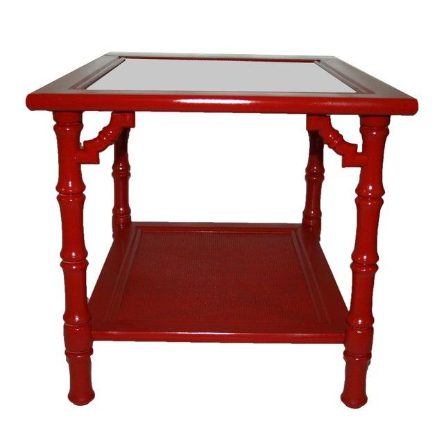 Mersman Faux Bamboo Red End Tables - A Pair - Image 3 of 7