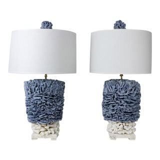 Pair of Blue and Elkhorn Pacific Coral Lamps
