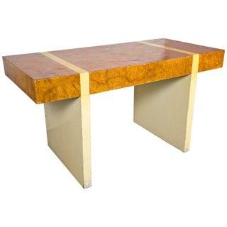 Mid-Centuy Burl & Cream Lacquer Desk