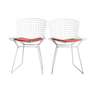 Knoll Bertoia White Wire Chairs - Pair