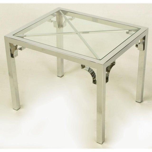 Chrome Parsons Style Chinese Chippendale X-Top End Table - Image 2 of 7