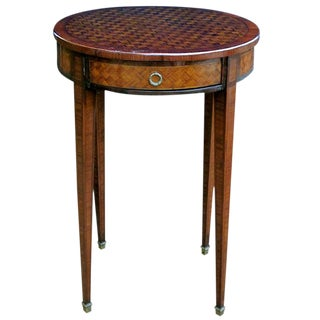 A Tailored French Louis XVI Style Tulip and Kingwood-Veneered Circular Single-Drawer Side Table