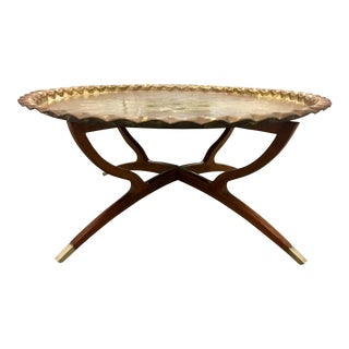 Mid-Century Moroccan Brass Table