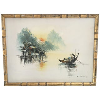 Asian Fishing Boat Paintings - A Pair
