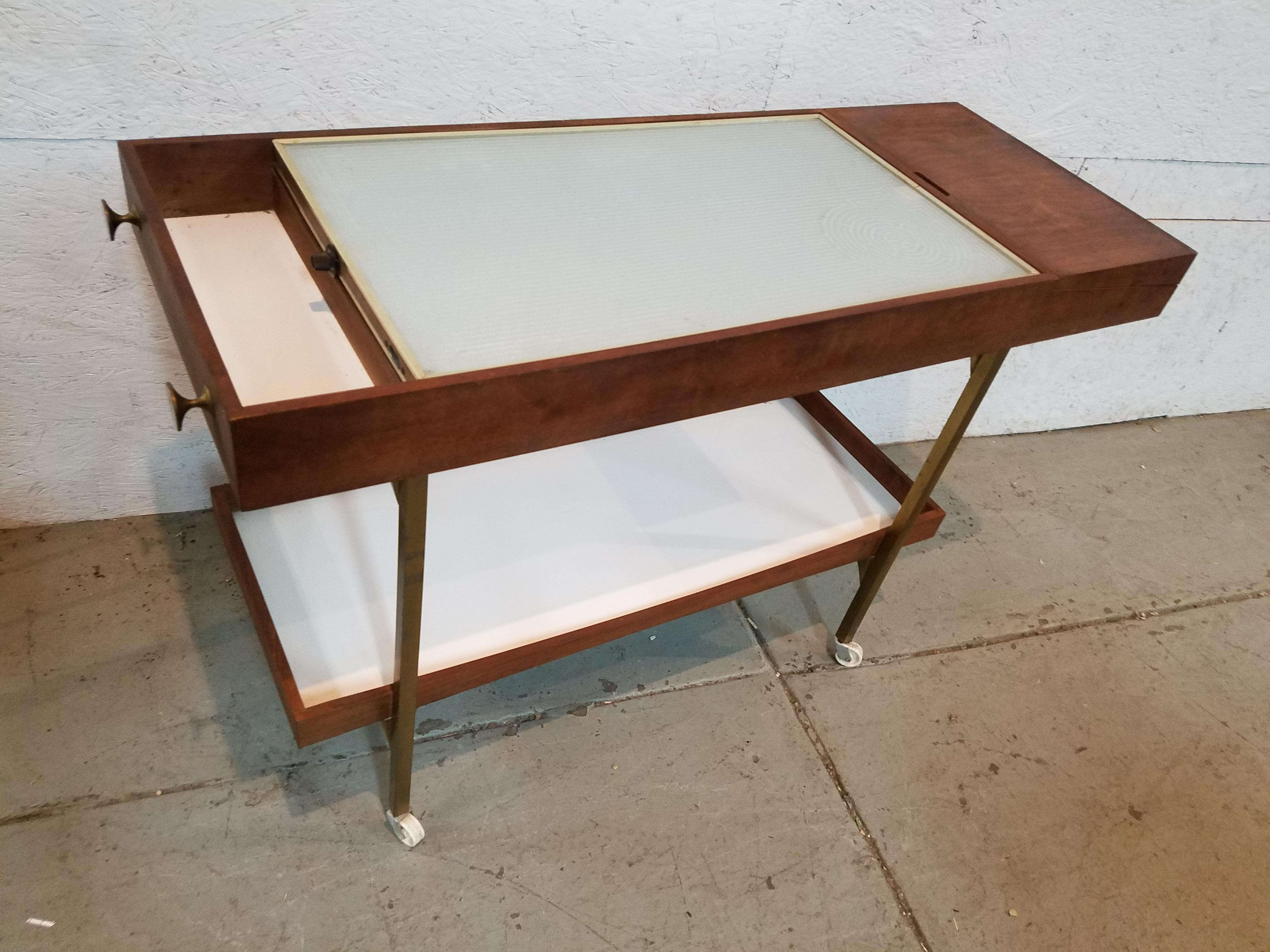 mid century modern salton serving cart with warming tray