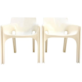 """Gaudi"" Molded Fiberglass Chairs by Vico Magistretti, 1970s - A Pair"
