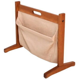 Danish Modern Teak and Canvas Magazine Holder Rack Brdr. Furbo