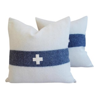 "22"" Custom Tailored Nautical White & Blue Stripe Wool & Linen Feather/Down Pillows - Pair"