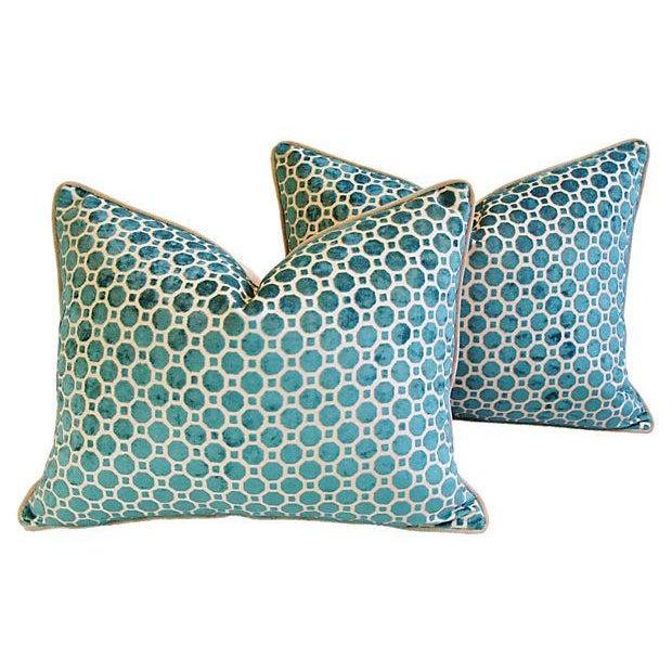 Turquoise Velvet Geometric Pillows- A Pair - Image 3 of 7