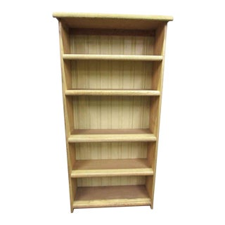 Pickled Oak Five Shelf Bookcase