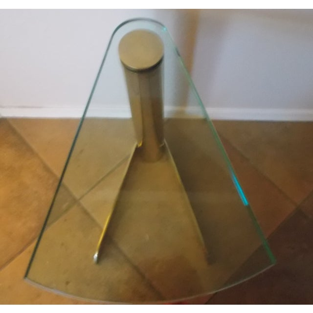 Pace Triangular Brass & Glass Side Table - Image 4 of 4