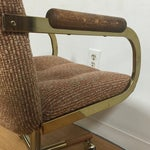 Image of Milo Baughman Style Brass Office Desk Chair