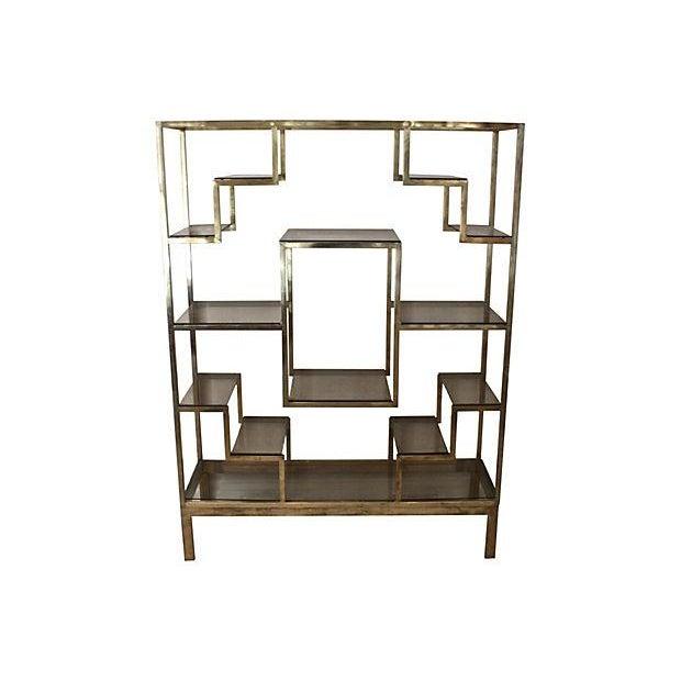 Romeo Rega-Style Brass & Glass Étagère - Image 3 of 6