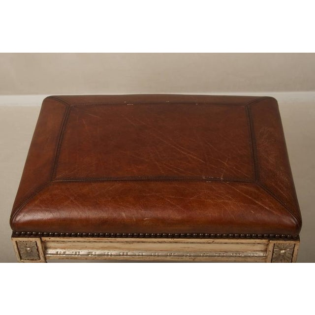 Louis XVI Style Leather Seat Ottomans - A Pair - Image 3 of 7