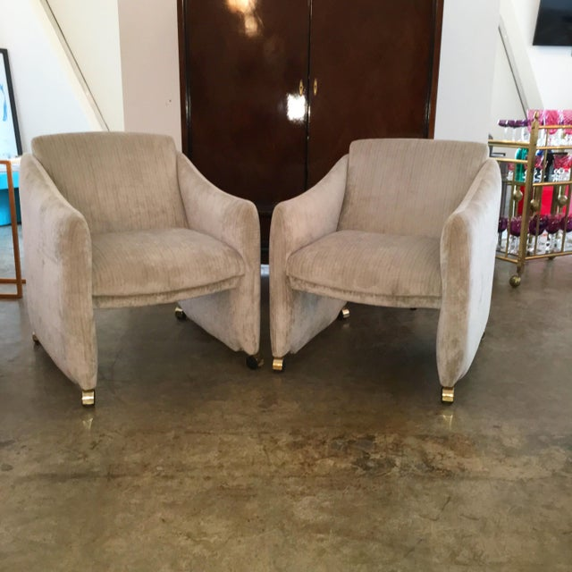 Pair of Milo Baughman Lounge Chairs on Casters Newly Upholstered in Velvet - Image 2 of 8