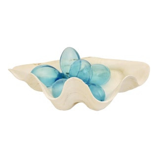 "Oversize Natural Clam Shell with Handblown Aqua Glass ""Pearls"""