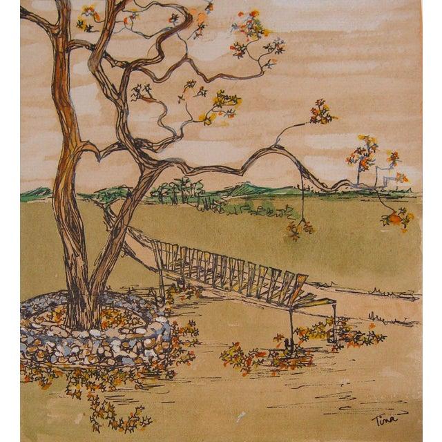 Garden Bench Ink & Gouache - Image 1 of 2